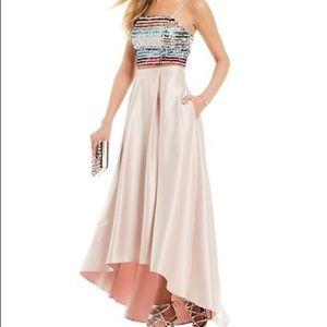 Sequin Hearts Sequin Crop Top Satin Skirt Gown